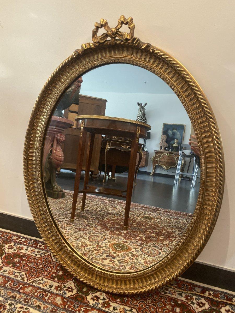 Grand Miroir A Noeux En Bois Dore De Style Louis XVI Epoque XXeme