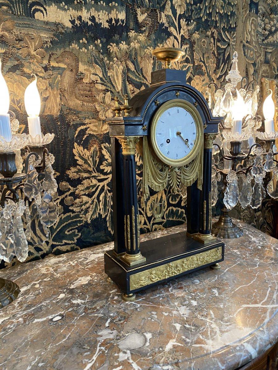 Grande Pendule Portique d'Epoque Louis XVI Marbre Et Bronze Dore Vers 1780-photo-4