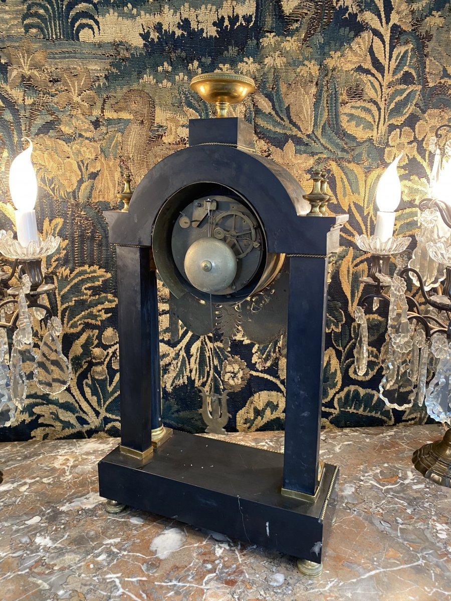 Grande Pendule Portique d'Epoque Louis XVI Marbre Et Bronze Dore Vers 1780-photo-2