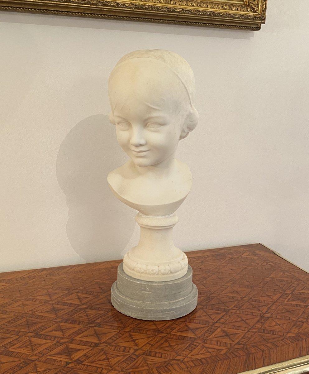 Buste De Jeune Fille En Marbre De Carrare Ecole Italienne Epoque Fin XIXème