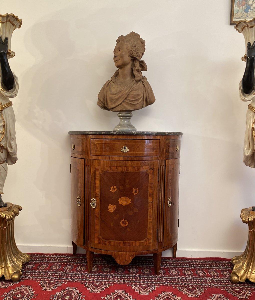 Small Commode Half Moon Marquetry Louis XVI Period XVIII