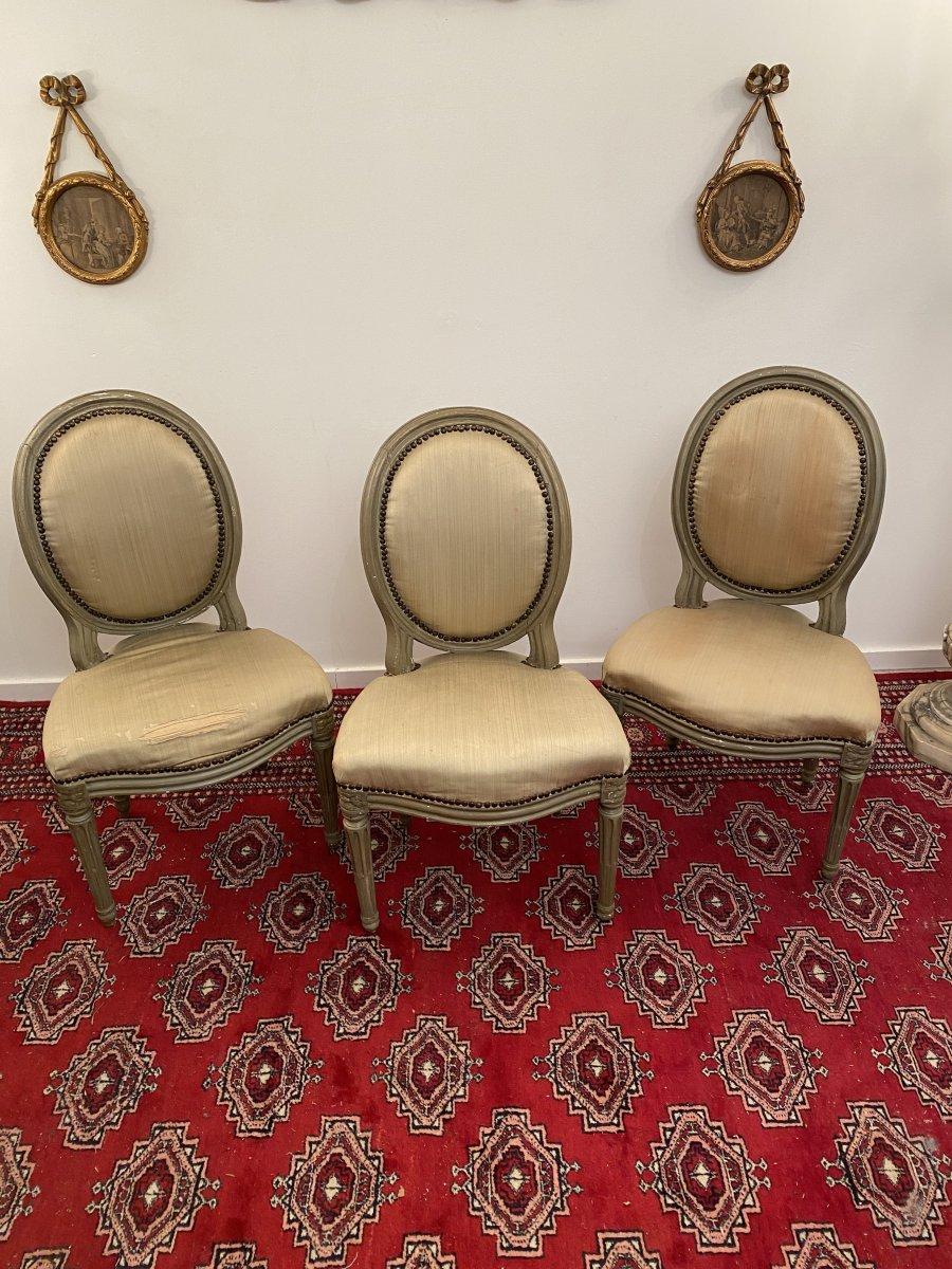 Suite De 3 Chaises Medaillons En Bois Laque d'Epoque Louis XVI-photo-2