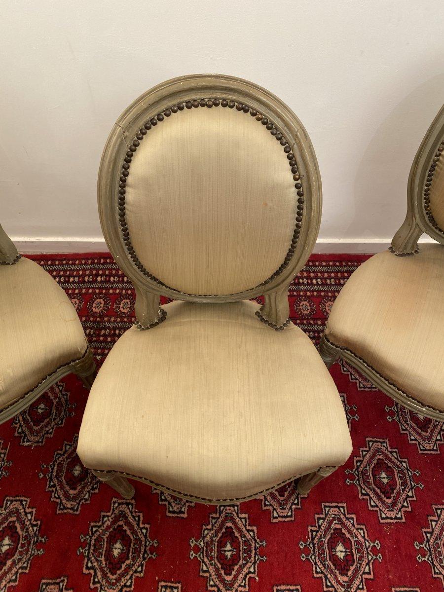 Suite De 3 Chaises Medaillons En Bois Laque d'Epoque Louis XVI-photo-5