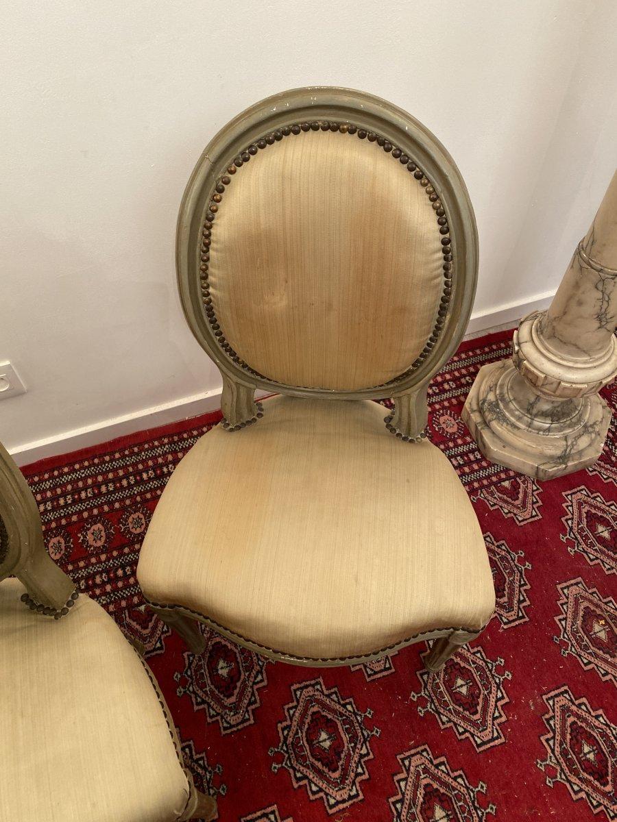 Suite De 3 Chaises Medaillons En Bois Laque d'Epoque Louis XVI-photo-6