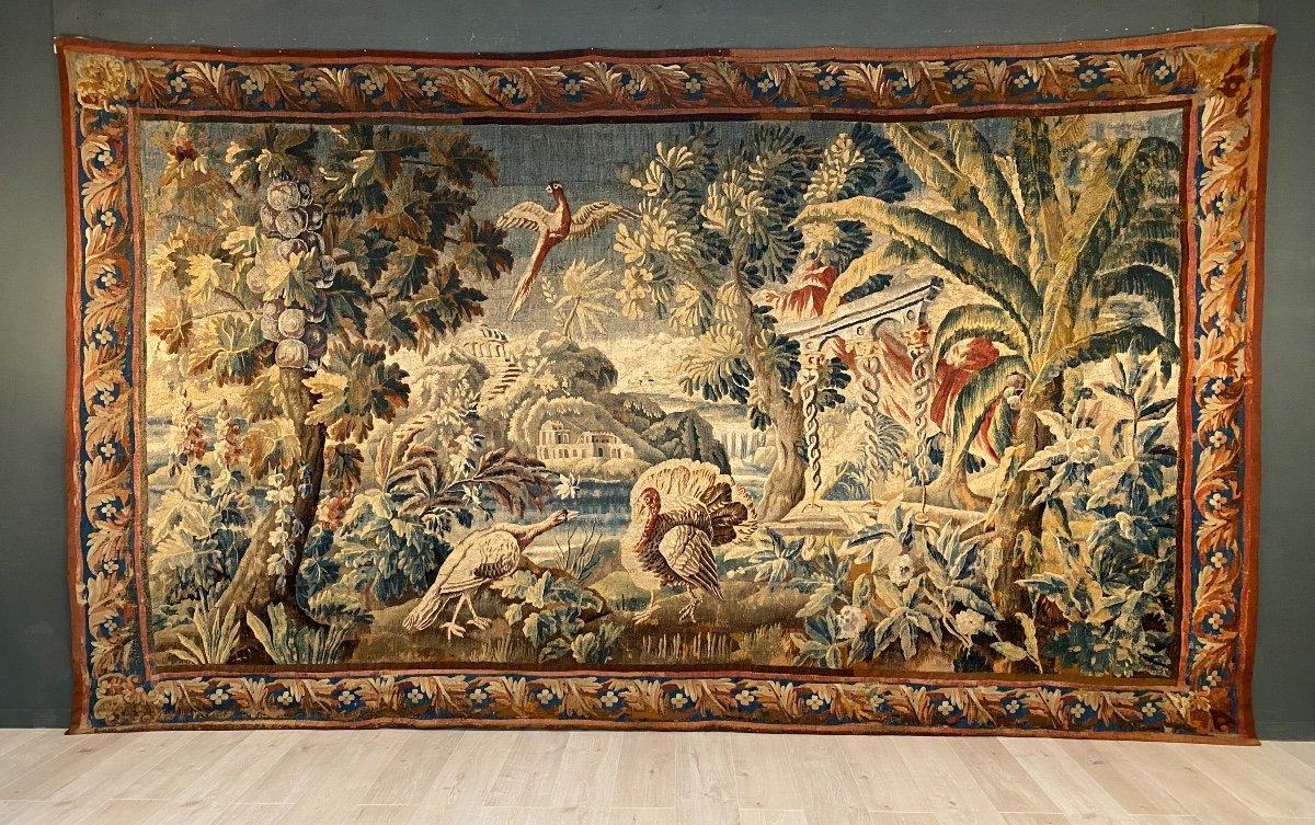 Grande Tapisserie d'Aubusson Epoque Louis XIV Combat De Volatiles XVIIeme