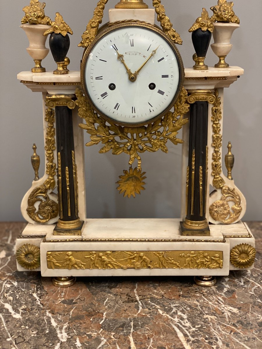 Large Portico Clock Louis XVI Gaston Jolly Paris Around 1780-photo-4