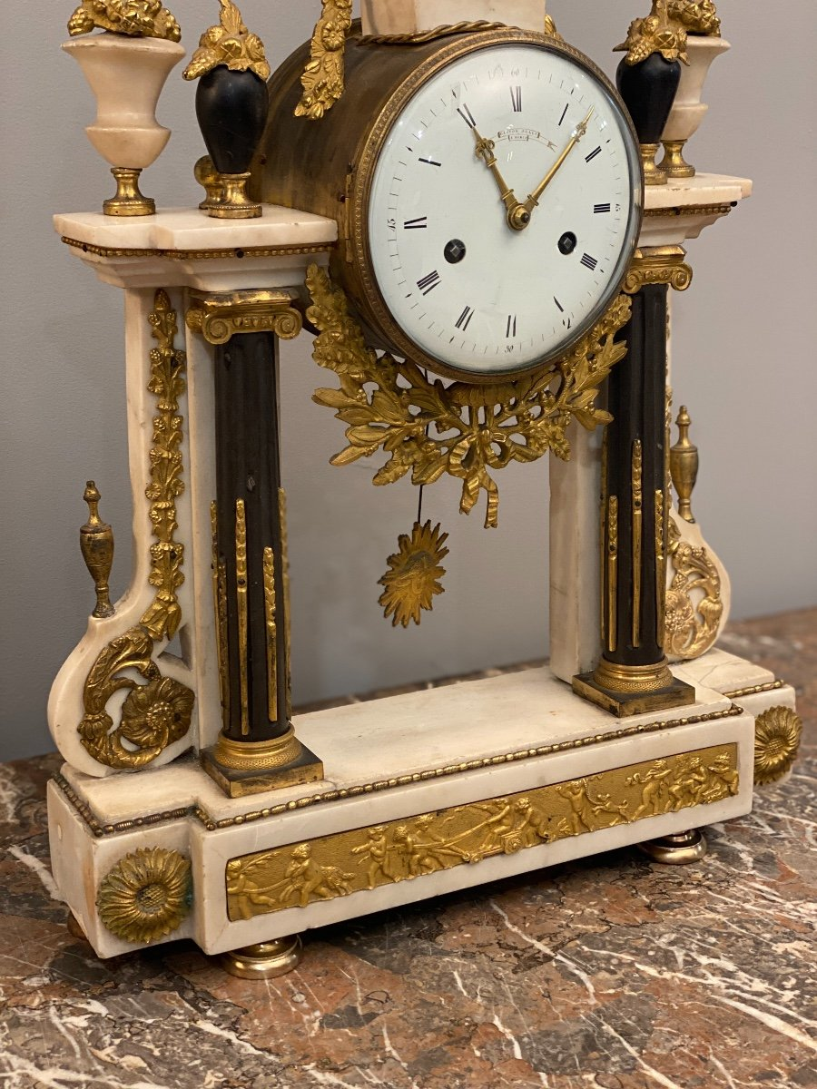 Large Portico Clock Louis XVI Gaston Jolly Paris Around 1780-photo-8