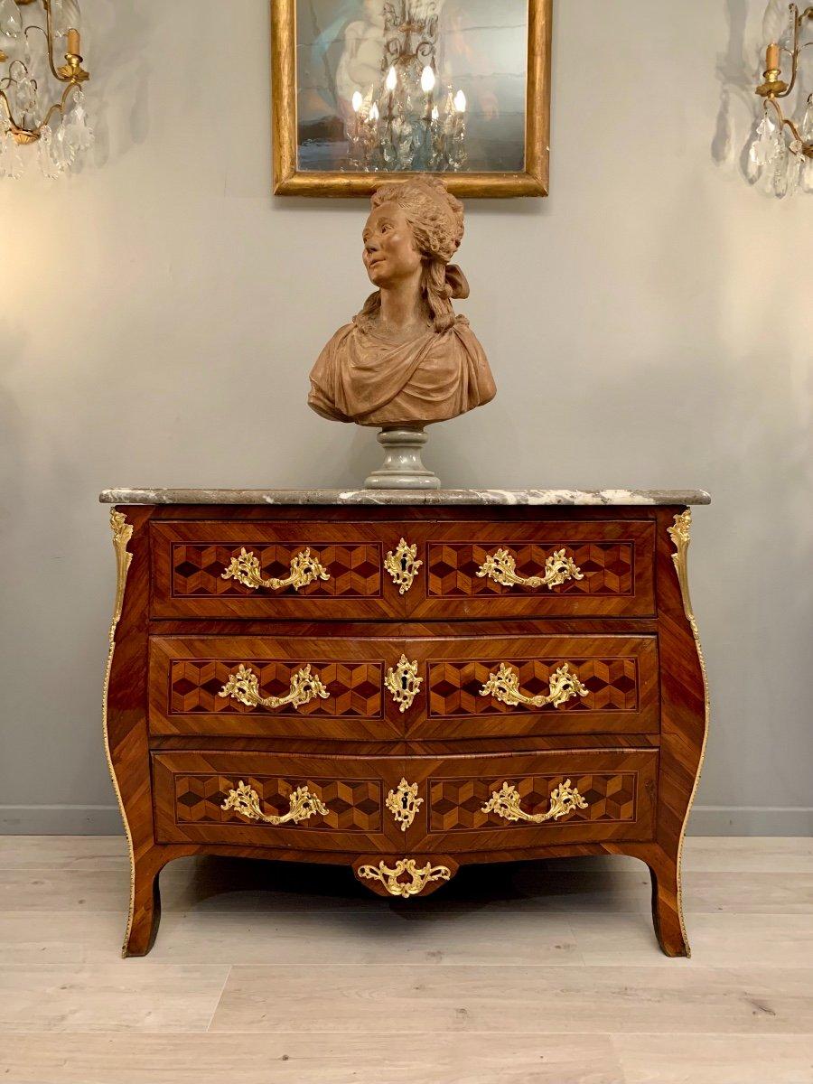 Commode Galbée En Marqueterie d'Epoque Louis XV Vers 1750-photo-2