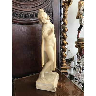 Large Alabaster Sculpture Woman Draped 19th Time