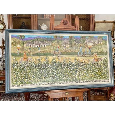 Grand Huile Sur Panneau De Gervais Emmanuel Ducasse (1903 - 1988) Peintre Haitien