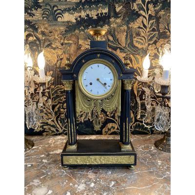 Large Pendulum Portico Louis XVI Period Marble And Bronze Dore Around 1780