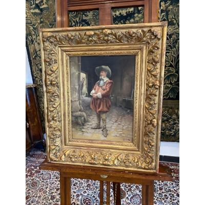 Oil On Mahogany Panel Signed Jules Marcoux Nineteenth Time