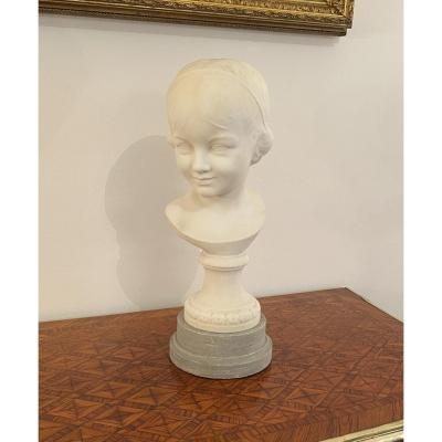 Bust Of Young Girl In Carrara Marble Italian School Period Late Nineteenth