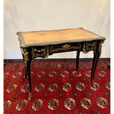 Bureau Plat De Style Louis XV En Laque Noire Et Bronze Dore Vers 1930