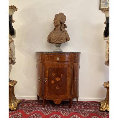 Petite Commode Demi Lune Marqueterie Epoque Louis XVI XVIIIeme