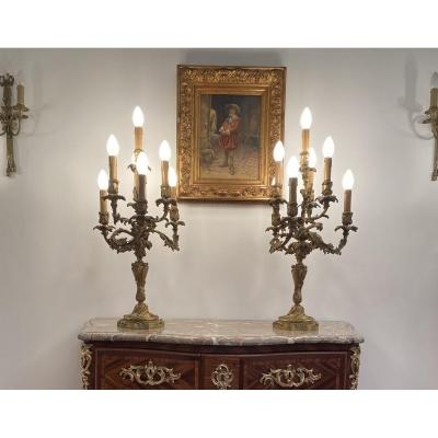 Important Pair Of Bronze Candelabra In Louis XV Style Nineteenth