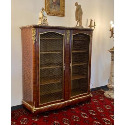 Belle Bibliotheque En Marqueterie Et Bronze Paul Sormani Epoque Napoleon III