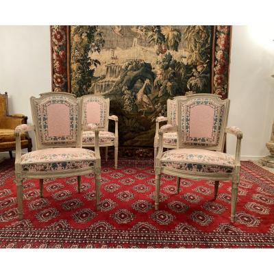 Suite Of 4 Louis XVI Armchairs Around 1780 XVIIIth Century