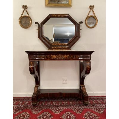 Console Forming Dressing Table Marquetry Charles X Period