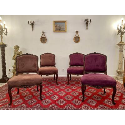 Suite Of 4 Large Chairs In Carved Walnut Louis XV Period Around 1730