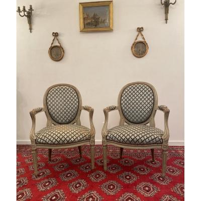 Pair Of Louis XVI Style Cabriolet Armchairs XIXth Century