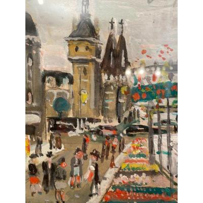 Lucien Genin (1894 - 1953), Paris Gouache Sur Papier Signée