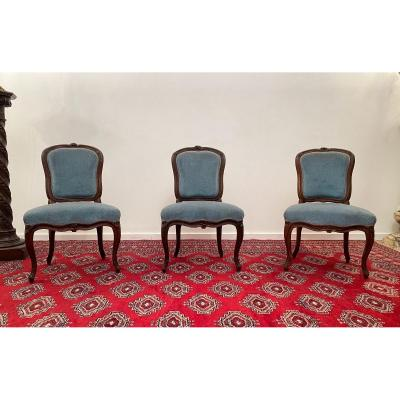 Suite Of 3 Louis XV Period Chairs Around 1730