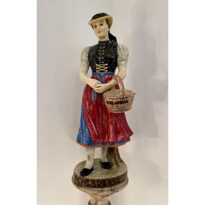 Grande Statue Céramique Emaillée Polychrome Epoque Début XXème