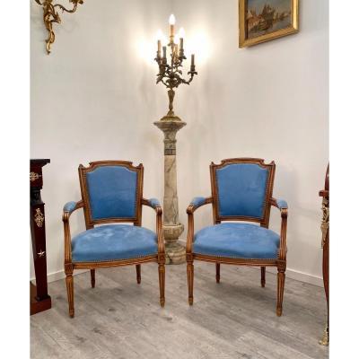 Paire De Fauteuils Cabriolet De Style Louis XVI Epoque XIXeme