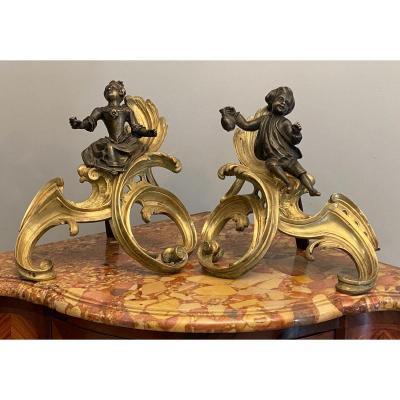 Paire De Chenets En Bronze Dore De Style Louis XV Epoque XIXeme Vers 1850