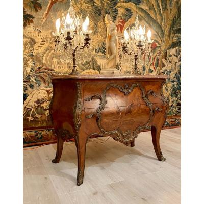 Commode En Marqueterie De Style Louis XV Epoque Napoleon III XIXeme