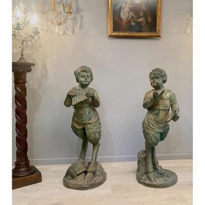 Grande Paire De Sculptures Bronze A Patine Verte Satyr Epoque Fin XIXeme