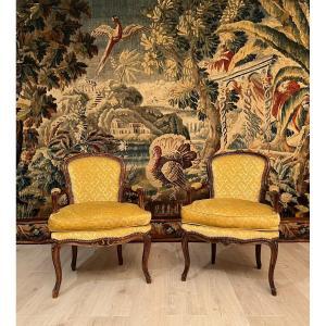 Suite De 2 Fauteuils De Style Louis XV Epoque XIXeme