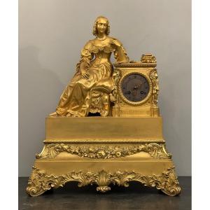 Importante Pendule En Bronze Doré Madame De Sevigné Epoque XIXème