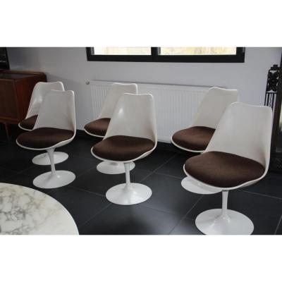 authentique ensemble de 6 chaises knoll eero saarinen circa 1960 chaises tabourets. Black Bedroom Furniture Sets. Home Design Ideas
