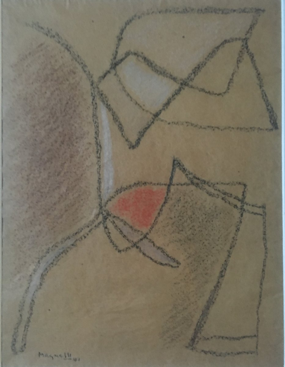 Alberto Magnelli Abstract Composition On Paper Dated 1941