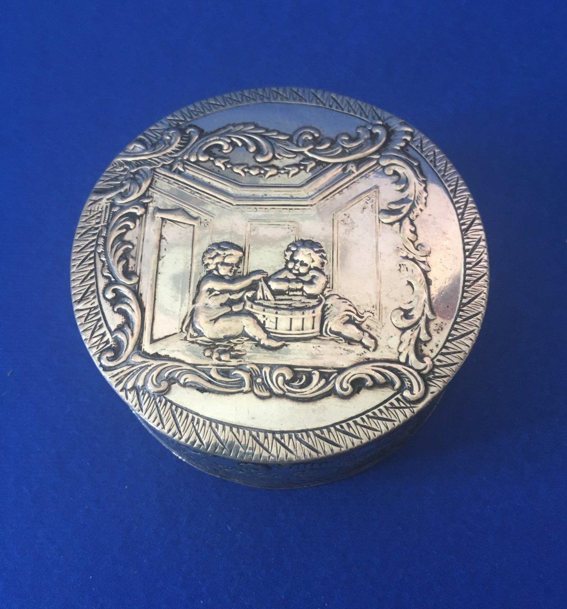 Round Box In Sterling Silver - German Work