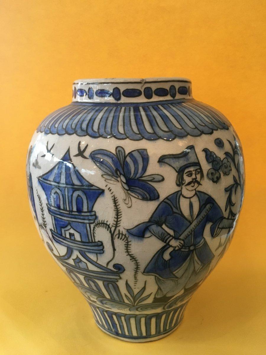 Qadjar Ceramic Vase Dated At The Base