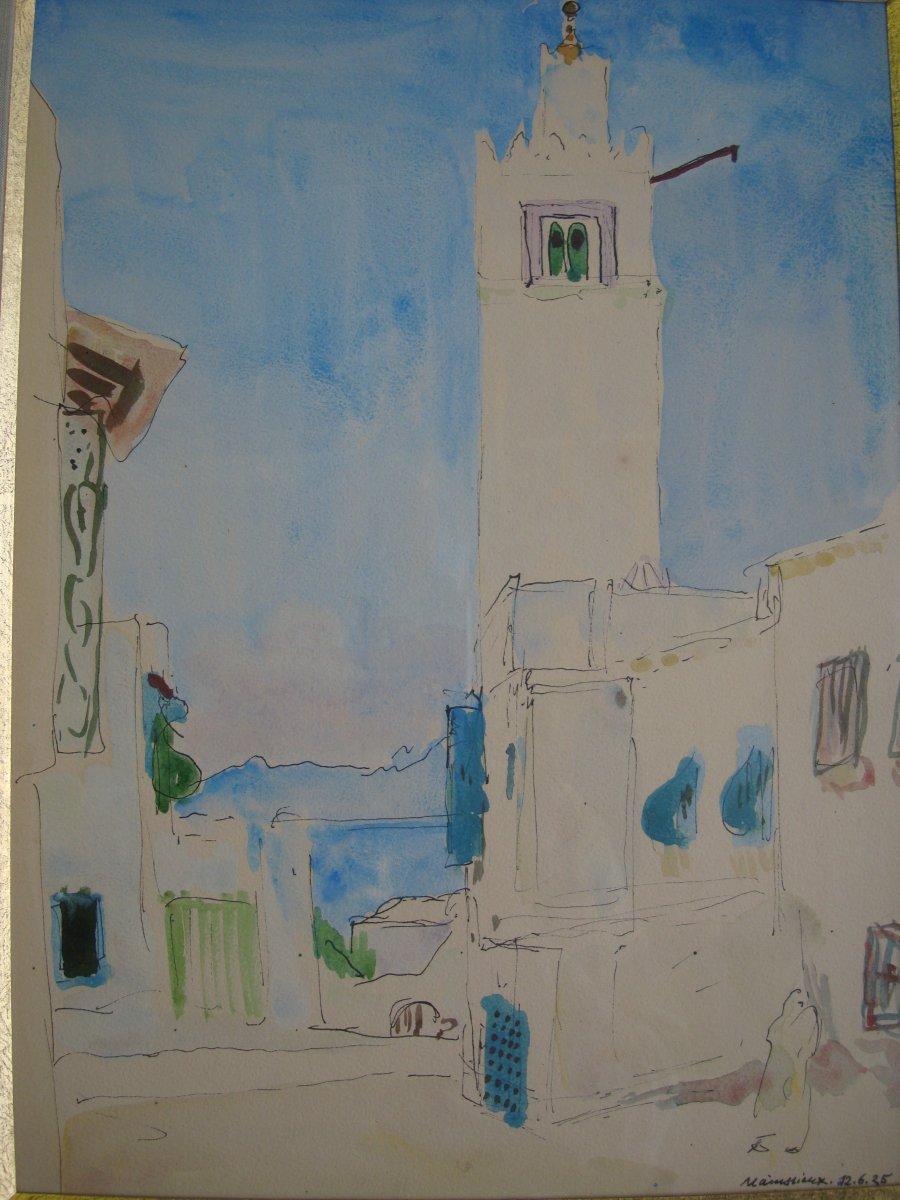 """Lucien Mainssieux (1885-1958) Aquarelle """"Vue d'une ruelle à Sidi Bou Said"""" Tunisie"""