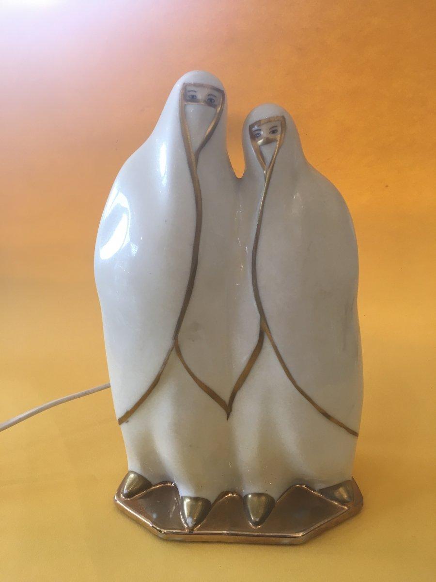 Veilleuse Représentant 2 Femmes Voilées Art Deco - Porcelaine De Limoges