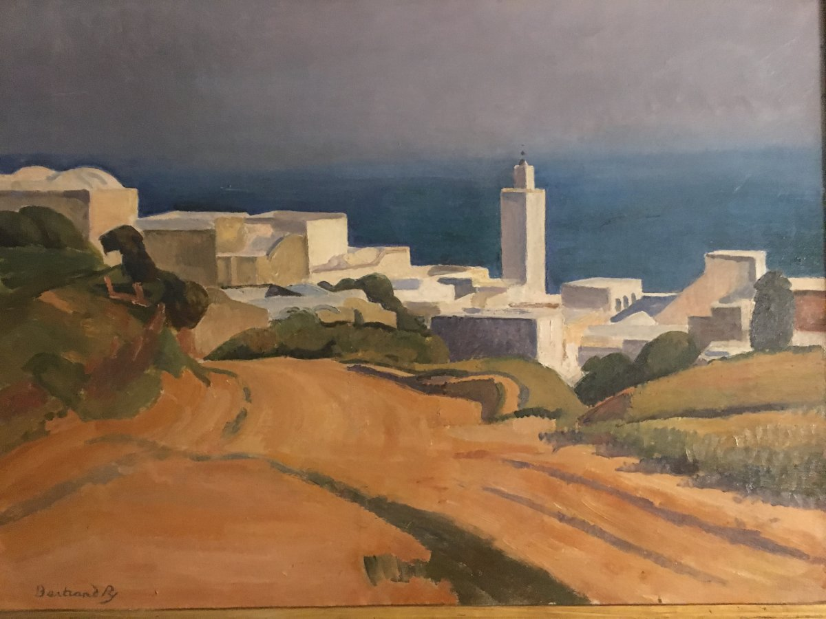 Bertrand Py   Sidi Bou Said View Tunisia . Oil On Canvas