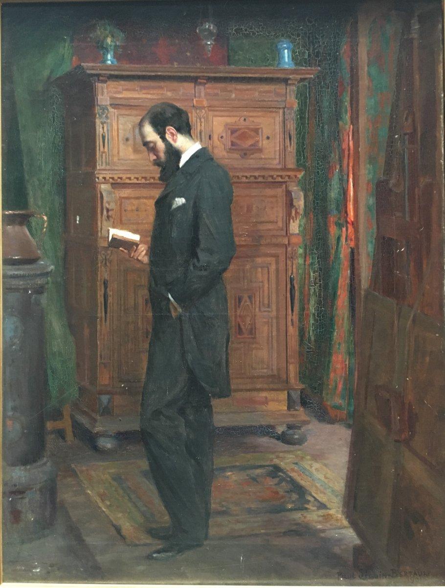 Paul Seguin-bertault Tableau Intimiste Homme Lisant Dans Un Interieur 1901