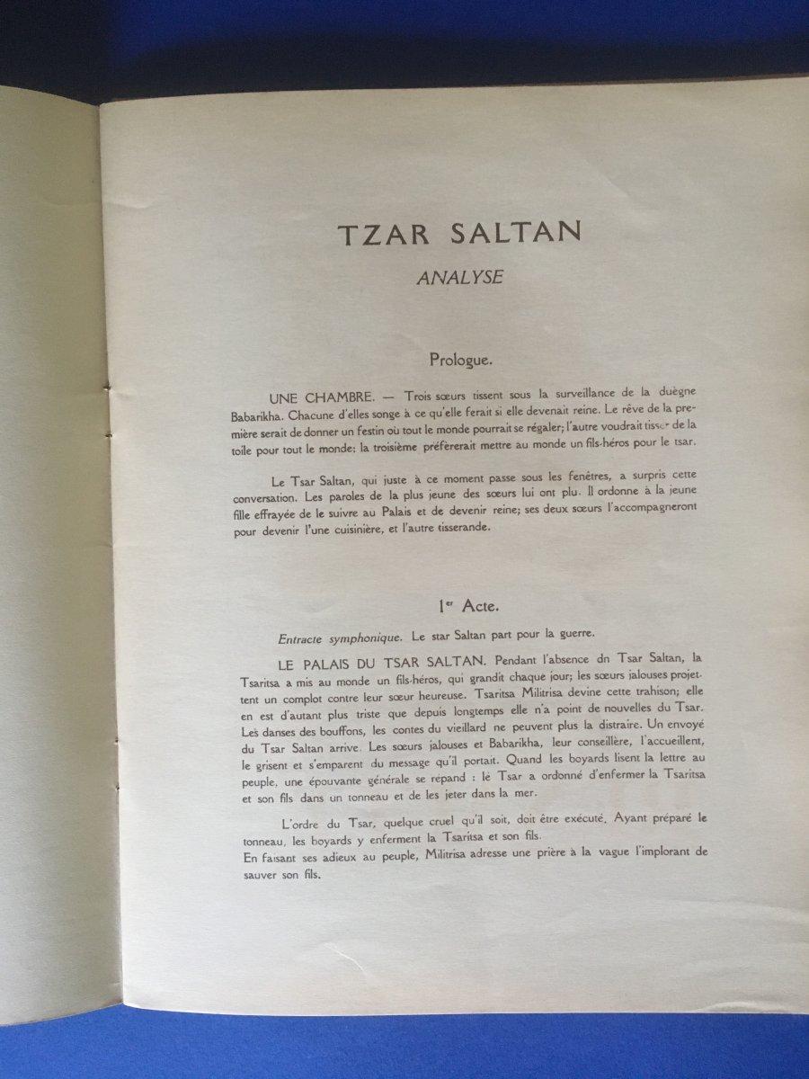 """Programme de """"TZAR SALTAN"""" par l'Opera Privée de Paris 1929-photo-2"""