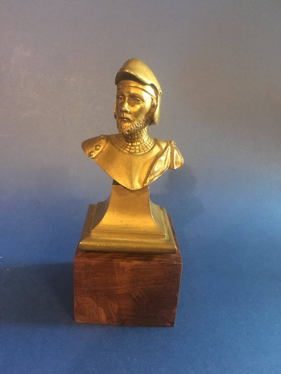 Small Bronze Bust Of A Knight In Armor. XIXth