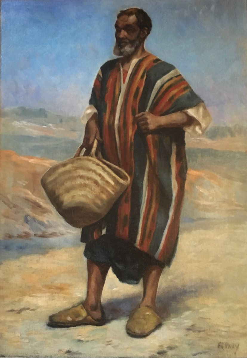 Ph. Pavy - Portrait Of An Arab Holding A Bassinet - Oil On Canvas
