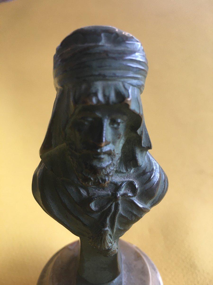 Buste En Bronze Patine Verte d'Un Arabe Par Alexandre Caron-photo-1