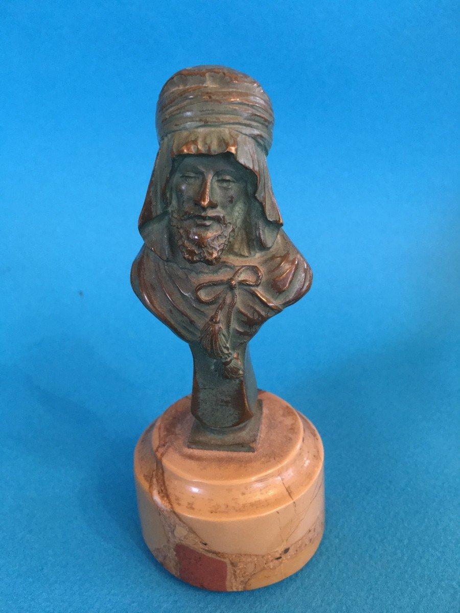 Buste En Bronze Patine Verte d'Un Arabe Par Alexandre Caron