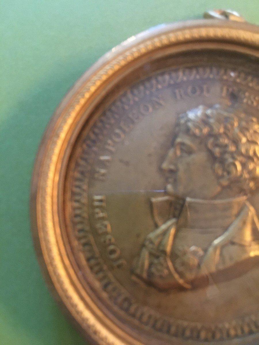 Joseph Bonaparte- Bronze Medal In Its Brass Frame-photo-3