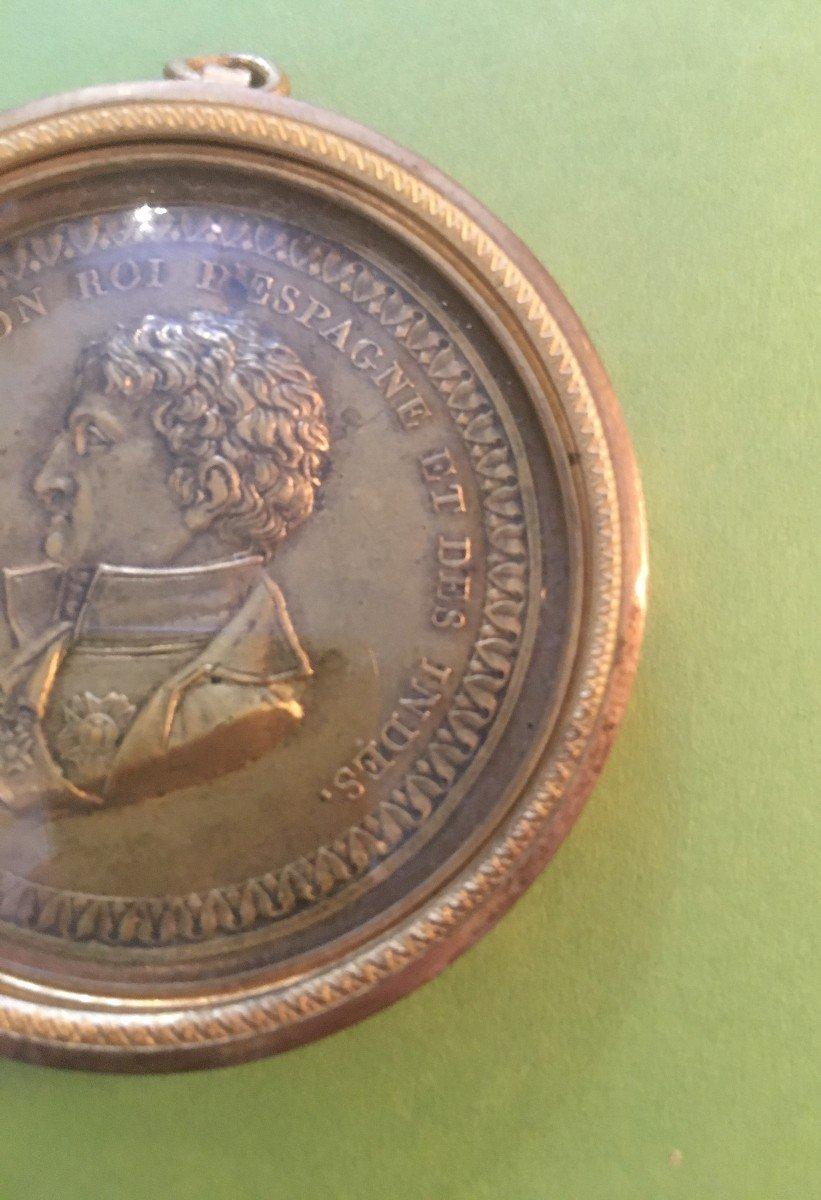 Joseph Bonaparte- Bronze Medal In Its Brass Frame-photo-4