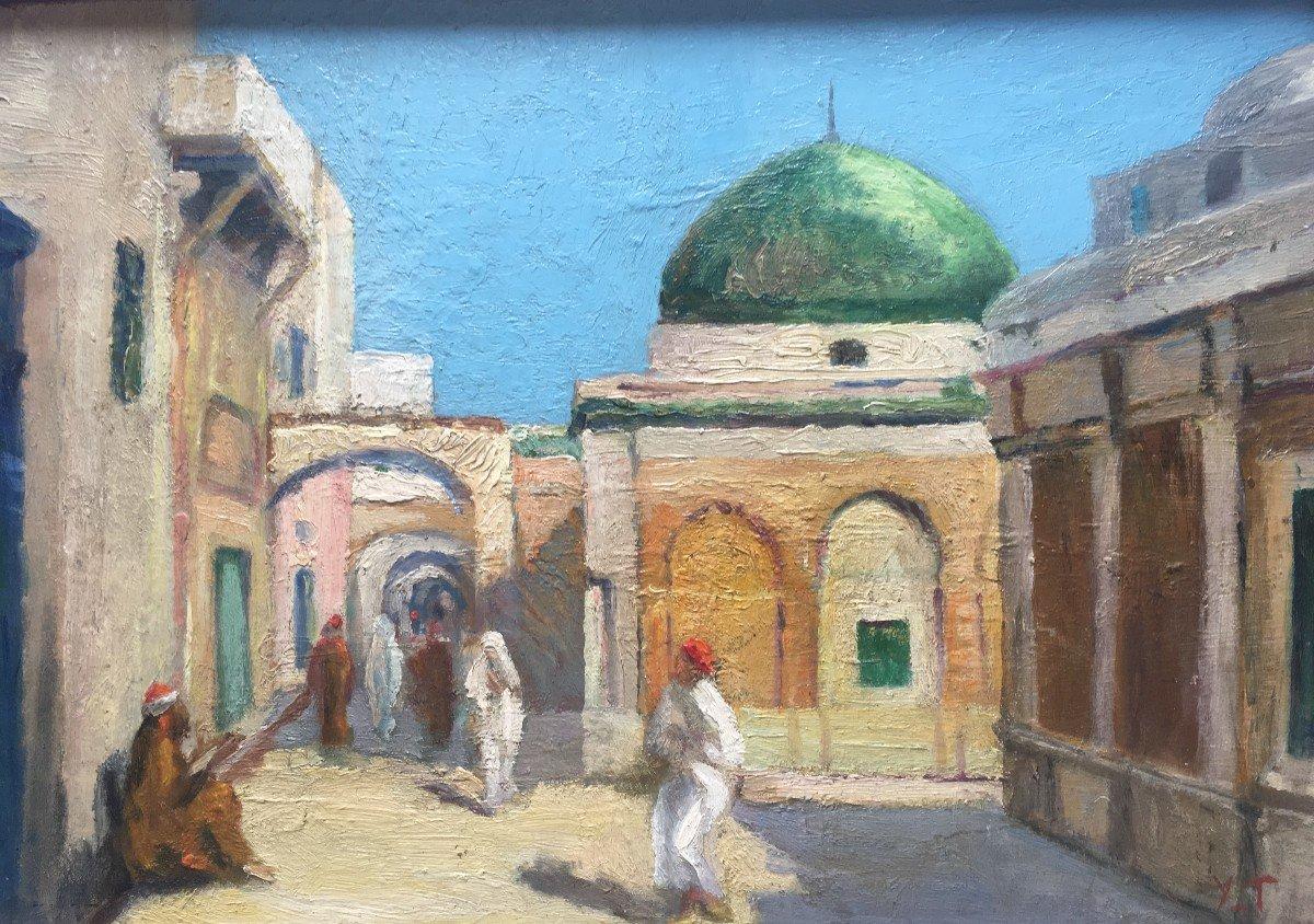 """""""Place animée d'un village arabe"""" par Yvonne THIVET. Huile sur panneau"""